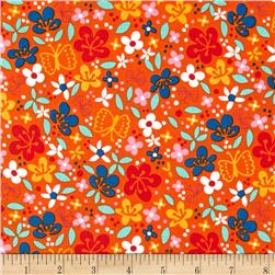 Robert Kaufman Cherry Blossom Garden Small Flowers Orange