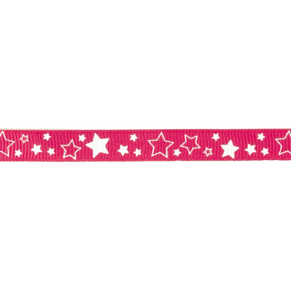 "Riley Blake 3/8"" Grosgrain Ribbon Stars Hot Pink"