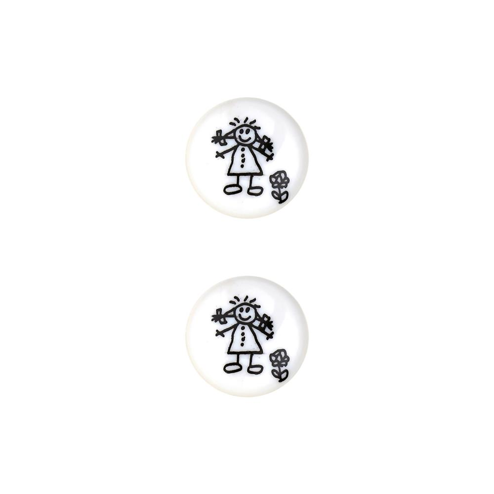 Dill Novelty Button 11/16'' Children's Drawing White