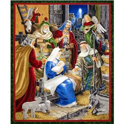 Rejoice 36 In. Metallic Nativity Panel Multi