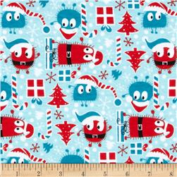Christmas Ooga Boogas Cotton Interlock Knit Red/Blue Fabric