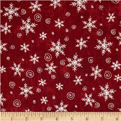 Christmas Whimsy Snowflakes Red