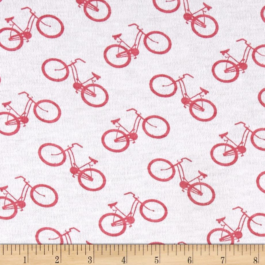 T-shirt Jersey Knit Riding Bicycles Red