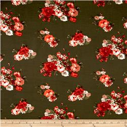 Rayon Challis Dreamer Floral Olive