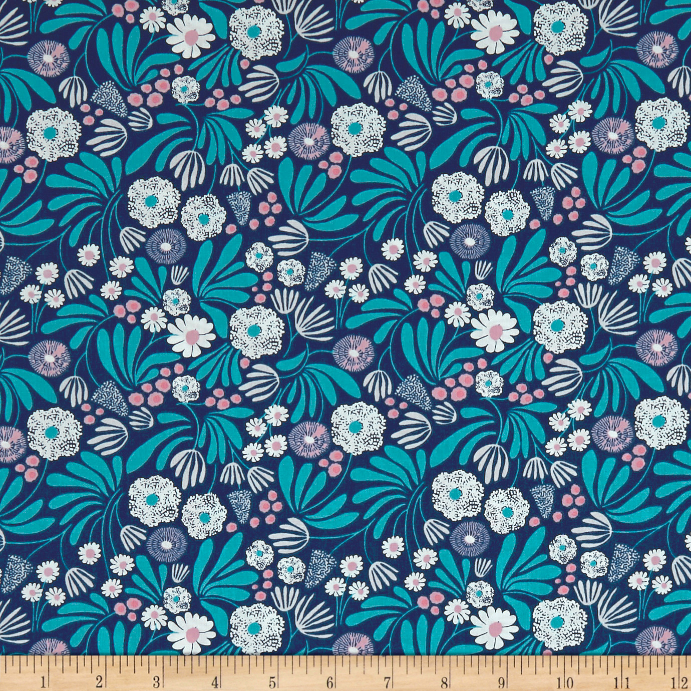 Cloud 9 Blooming Buds Navy/ White Fabric