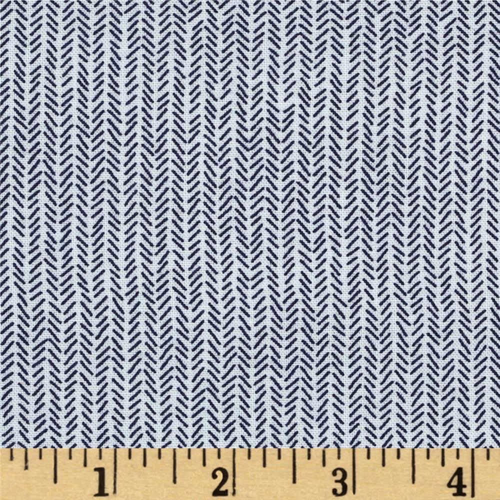 Bombay Herringbone Cream/Blue - Discount Designer Fabric ...