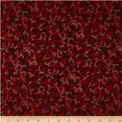 Pear Tree Greetings Metallic Foulard Scarlet/Gold