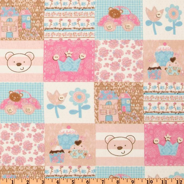 Camelot Flannel Patchwork Girl Pink