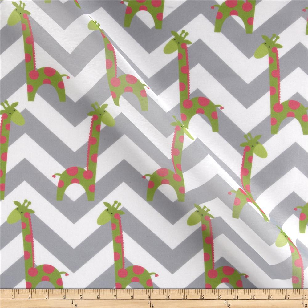 RCA Giraffe Chevron Sheers Green/Pink/Grey