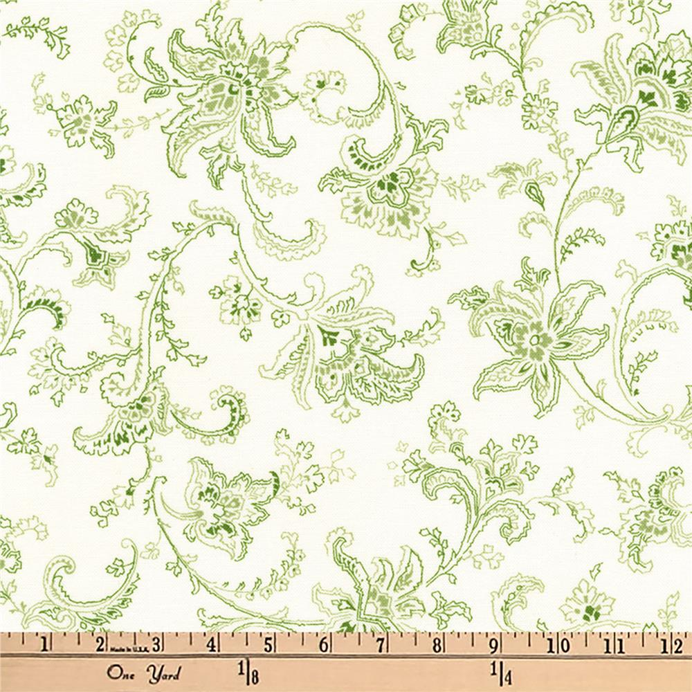Kaufman Victoria Gardens Flower Scroll Green