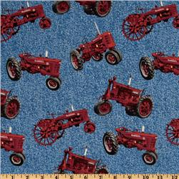 Farmall International Harvester Allover Red Tractors Blue
