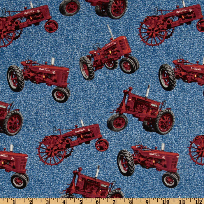 Farmall International Harvester Allover Red Tractors Blue Fabric