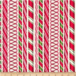 Kaufman Holly Jolly Christmas Candy Cane Ivory