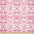 Paola Pique Knit Abstract Vines Hot Pink/Beige