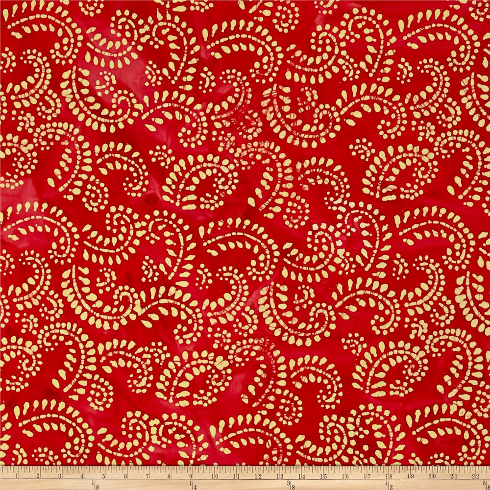 Indian Batik Hollow Ridge Scroll Vine  Red/Natural