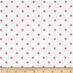 Premier Prints Mini Stars Twill White/Coral