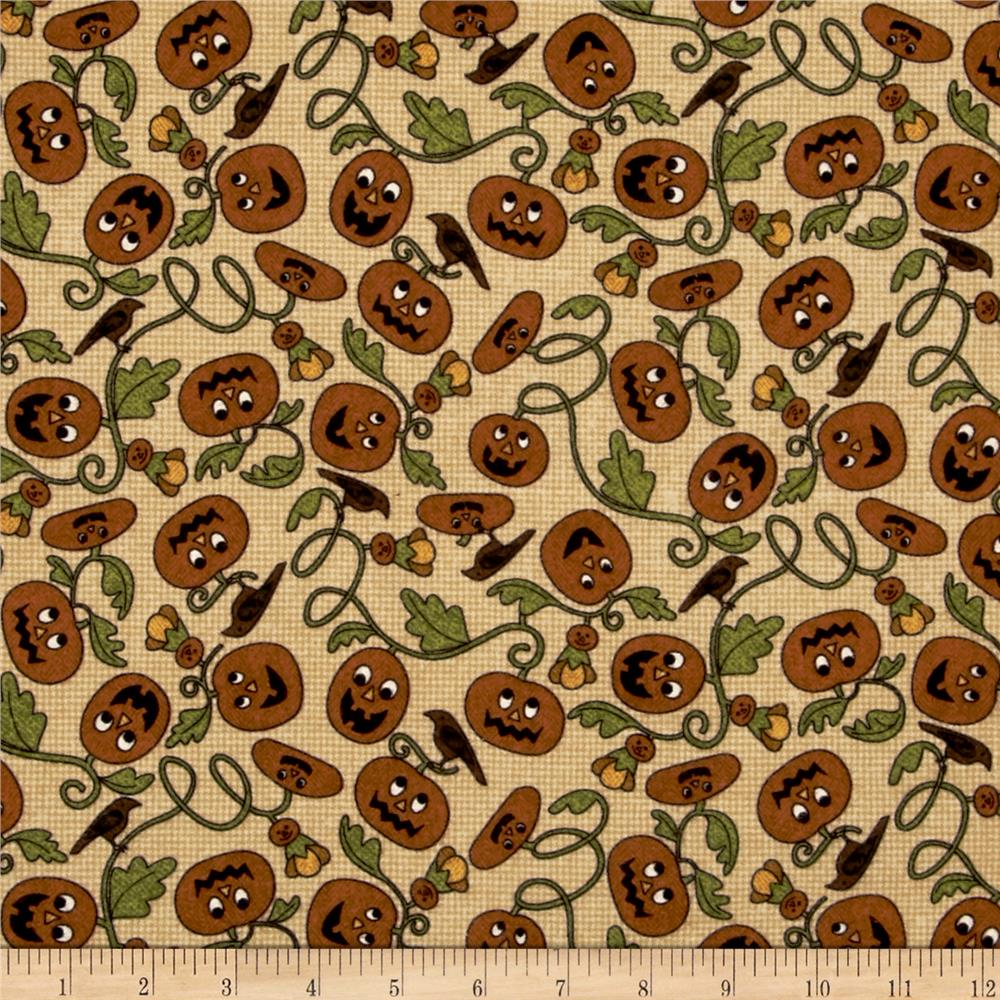 Pumpkin Party Flannel Pumpkin Patch Tan Fabric