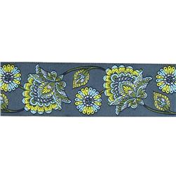 2'' Tula Pink Indigo Deer Me Flower Ribbon Gray