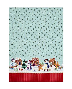 Holiday Snowman Double Border Light Teal
