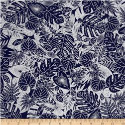 Indigo Blues Small Tropical Leaves Blue