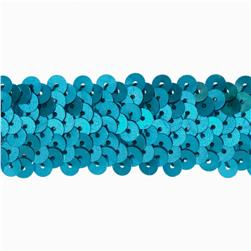 1-1/4'' Metallic Stretch Sequin Trim Aqua Blue