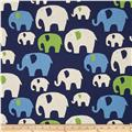 Kokka Trefle Linen Blend Canvas Elephants Navy