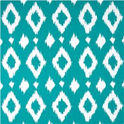 Cotton Ikat Lawn Teal/White