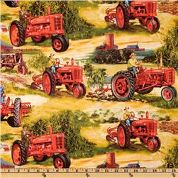 International Harvester Red Tractor Red/Gold Fabric