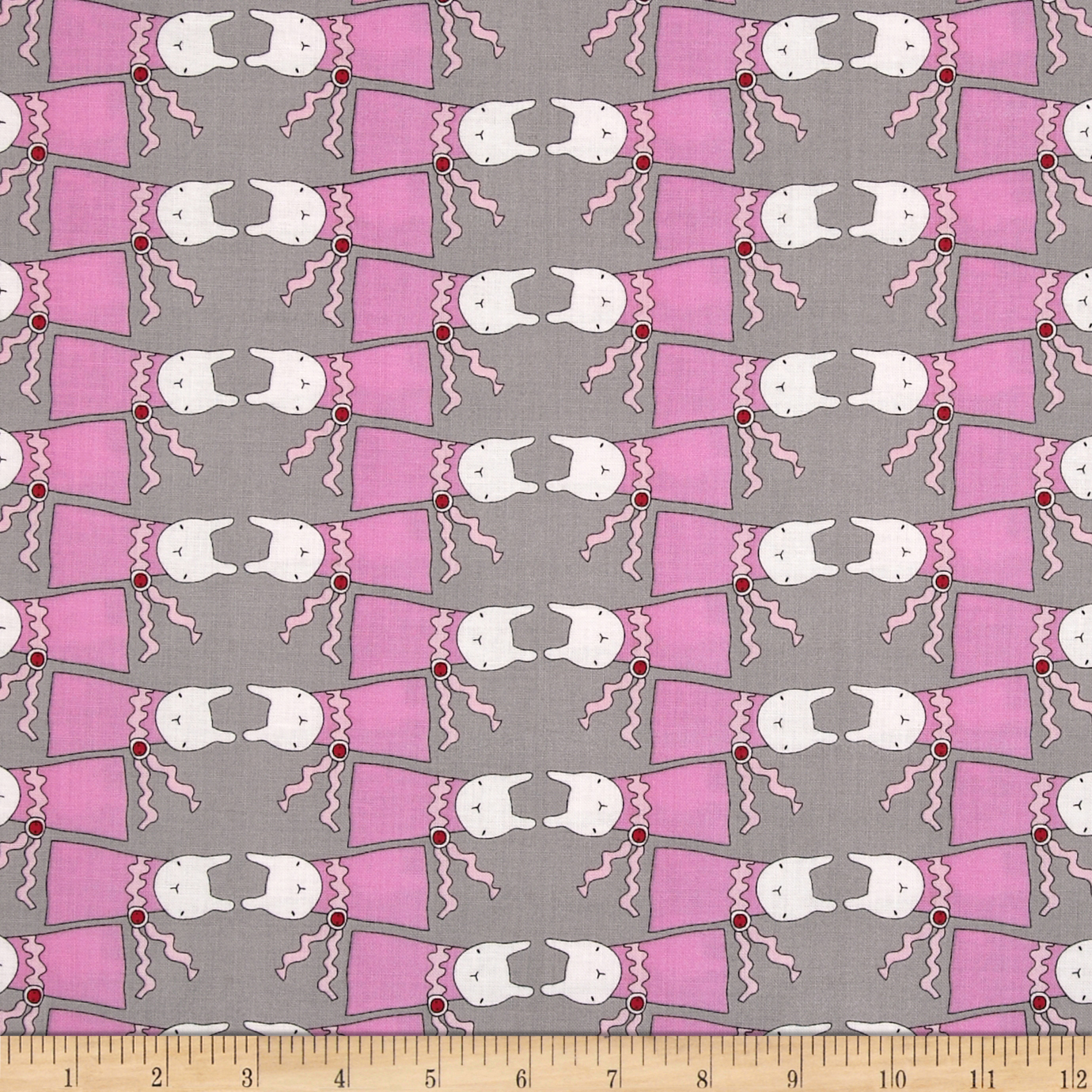 Ric Rac Rabbits All Dressed Up Grey/Pink Fabric