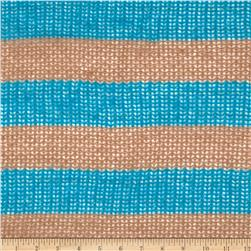 Fuzzy Sweater Knit Stripe Tan/Turquoise