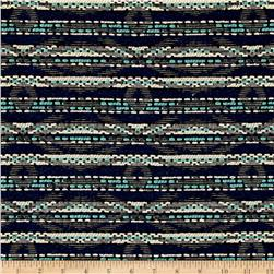 French Tribal Stripe Jacquard Black/Aqua/White/Black