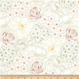 Michael Miller Emma's Garden Big Blooms Blush Fabric