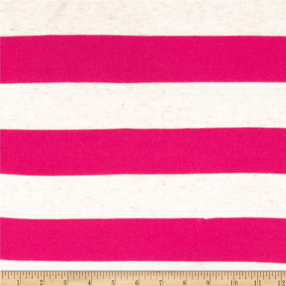 Yarn Dyed Jersey Knit Wide Stripe Natural/Hot Pink