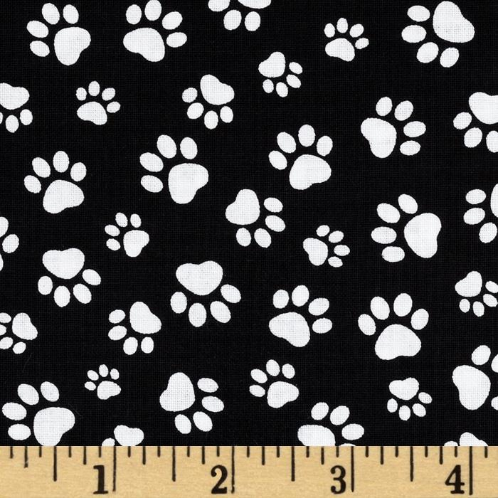 Timeless Treasures Paw Print Black White Discount