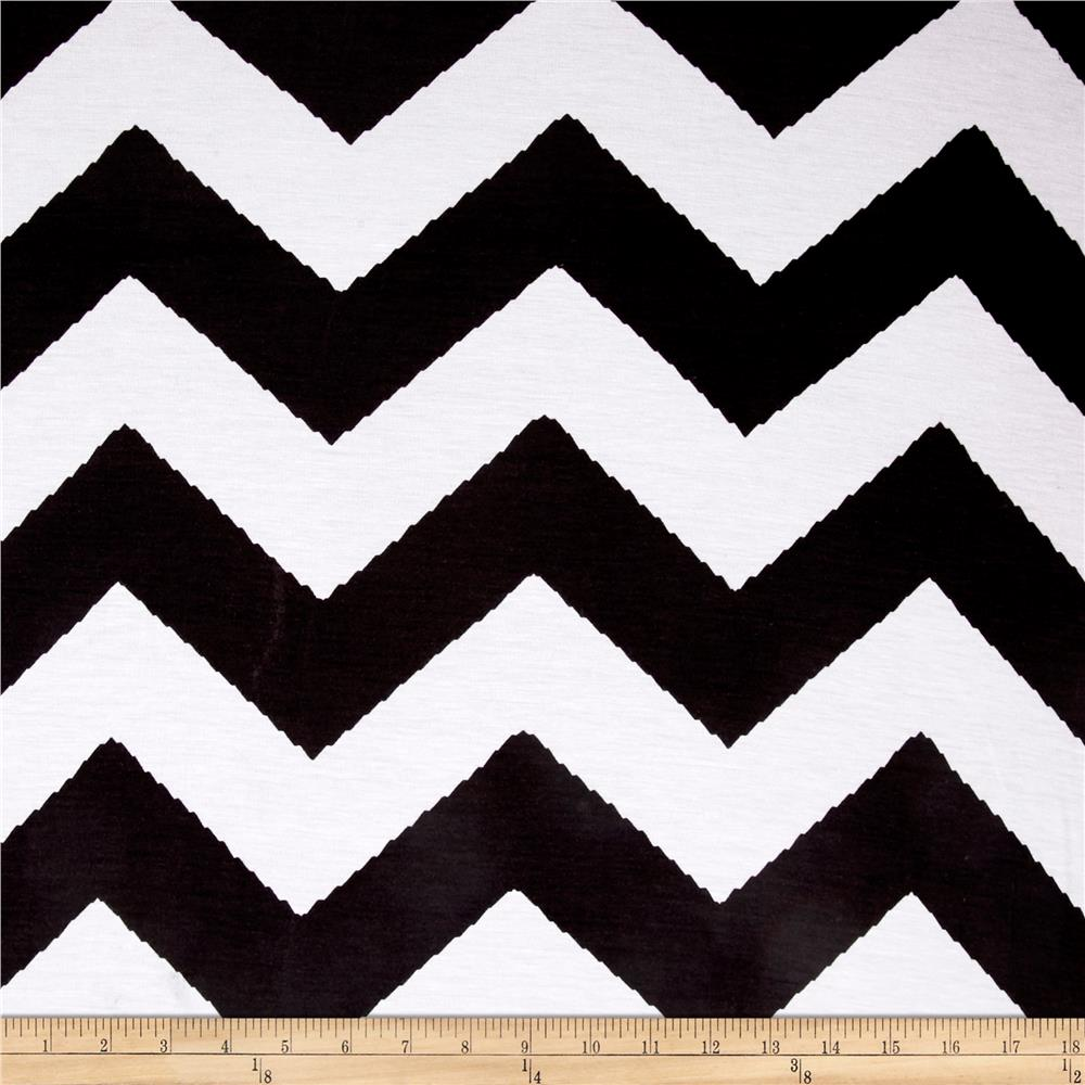 Rayon Stretch Jersey Knit Chevron Stripe Black/White Fabric By The Yard