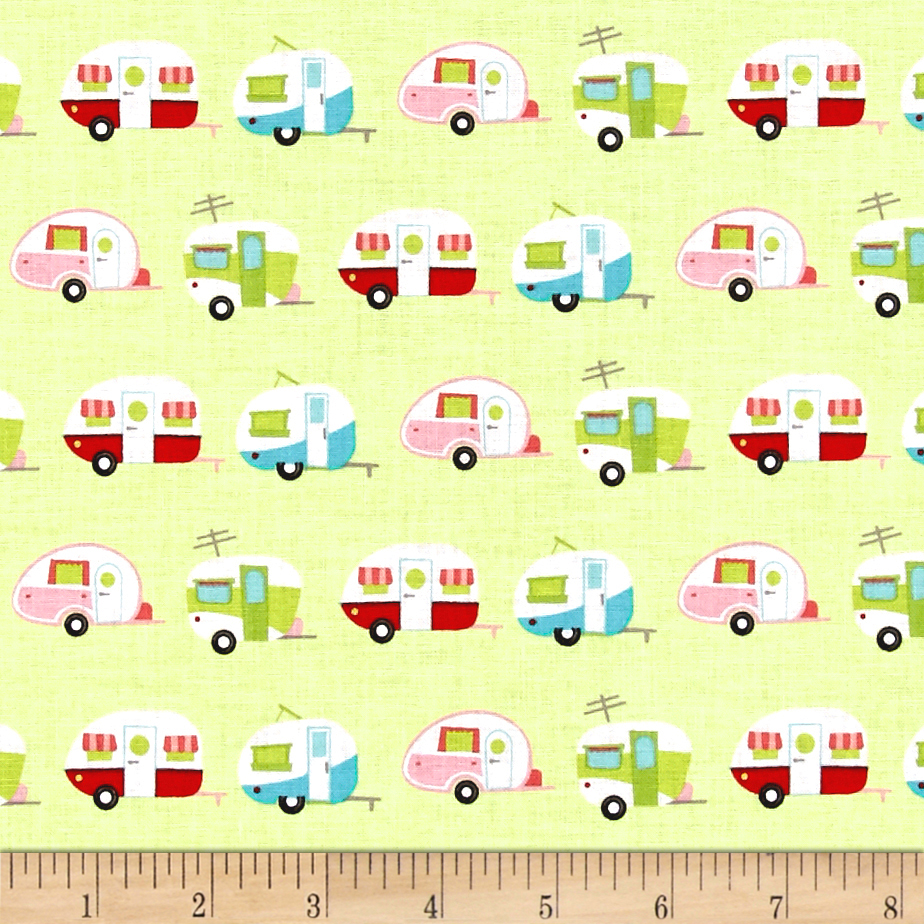 Riley Blake Glamper-licious Campers Green Fabric
