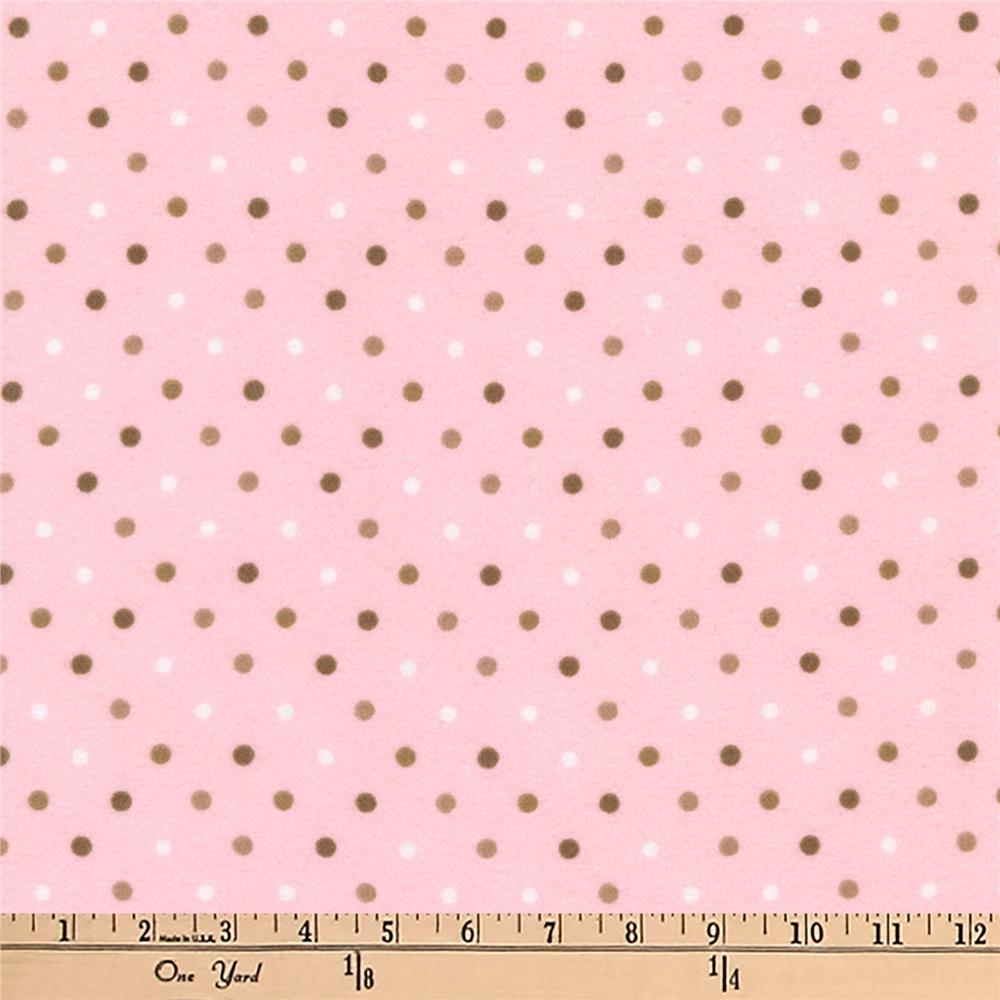 Kaufman Cozy Cotton Flannel Dots Blush Fabric