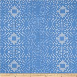 Aztec Rayon Crepon Print Powderblue/Ivory