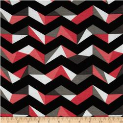 Fashionista Jersey Knit Large Geo Chevron Black/Pink