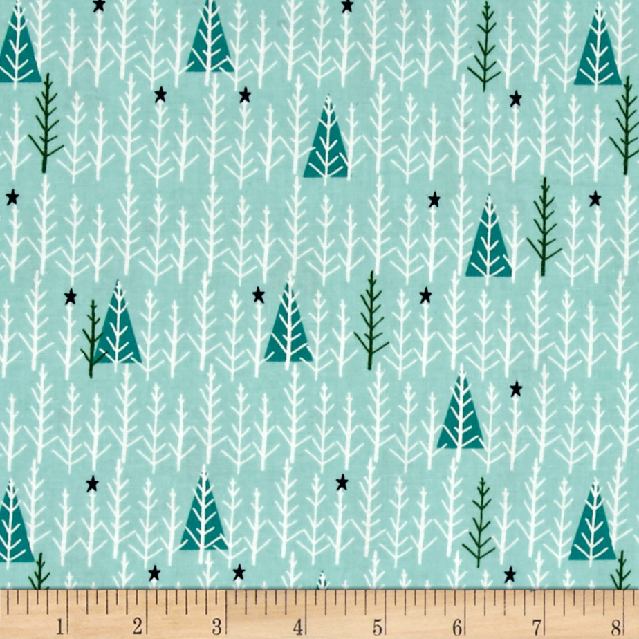 Cotton + Steel Garland Tree Day Mint Fabric by Cotton & Steel in USA