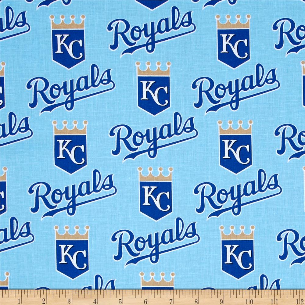 MLB Cotton Broadcloth Kansas City Royals Light Blue/Dark Blue