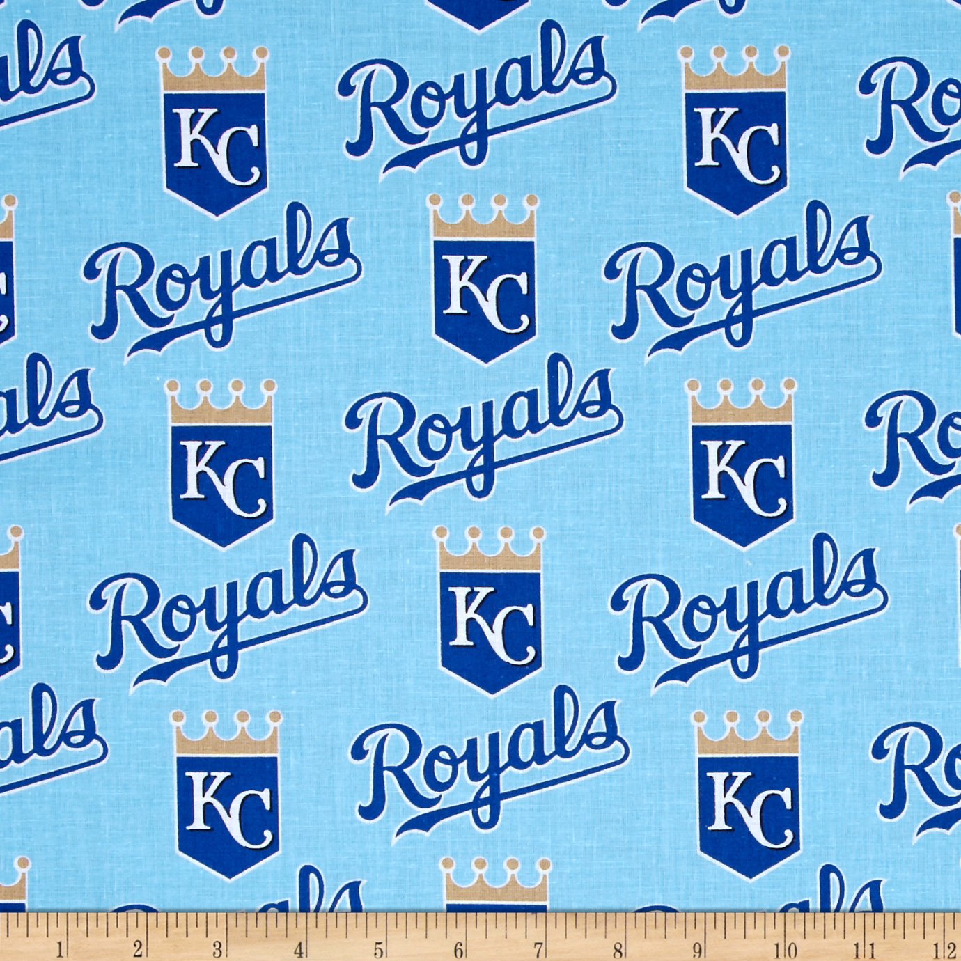 MLB Cotton Broadcloth Kansas City Royals Light Blue/Dark Blue Fabric by Fabric Traditions in USA