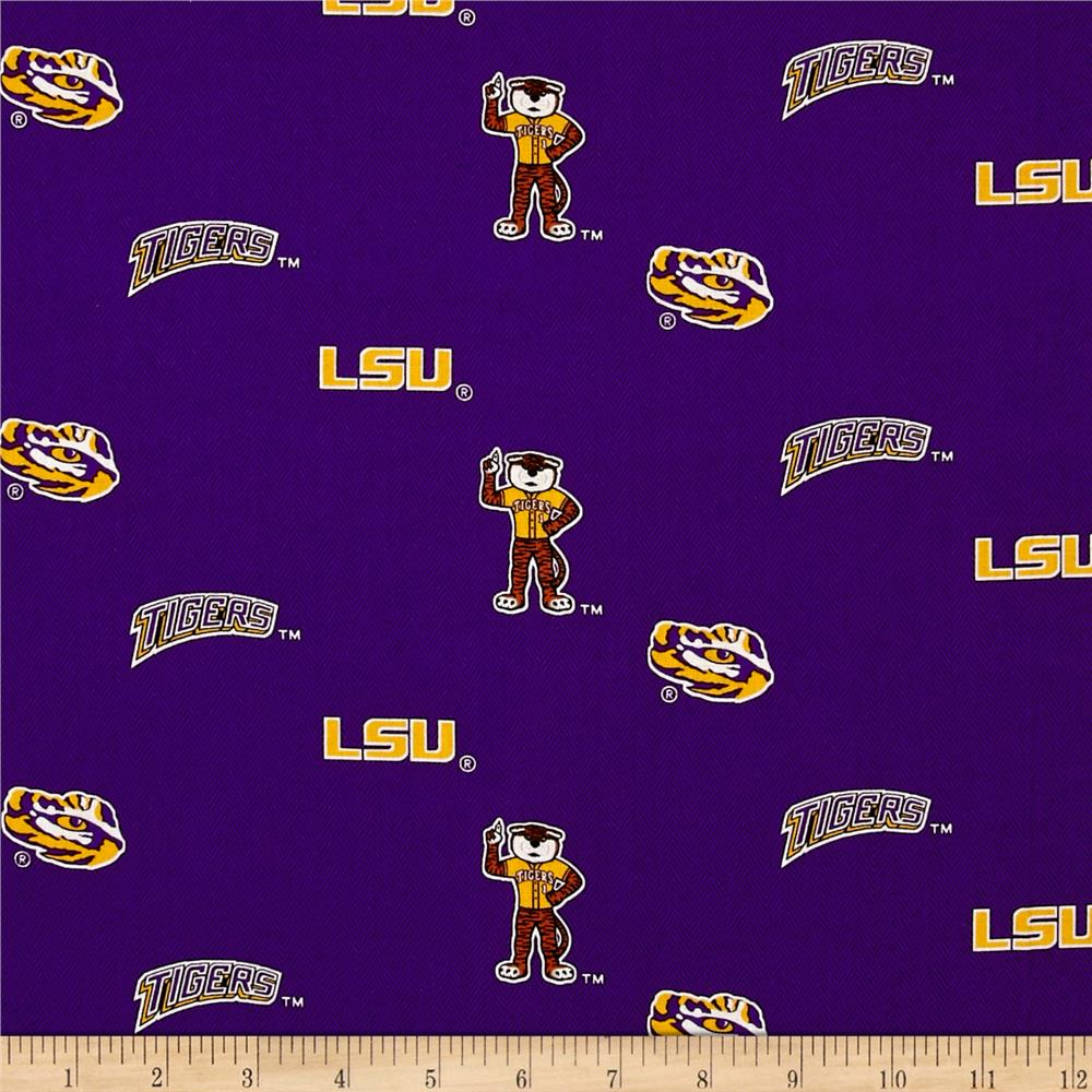 College Cotton Broadcloth Louisiana State University Allover Purple