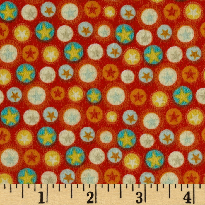 Riley Blake Boy Crazy Flannel Stars Red Fabric