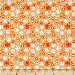 Itty Bitty Ditsy Floral Orange Fabric