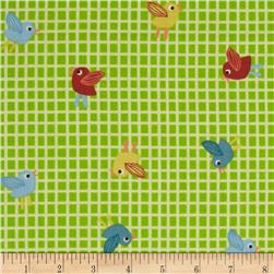 Giggle & Grow Birds on Grid Green