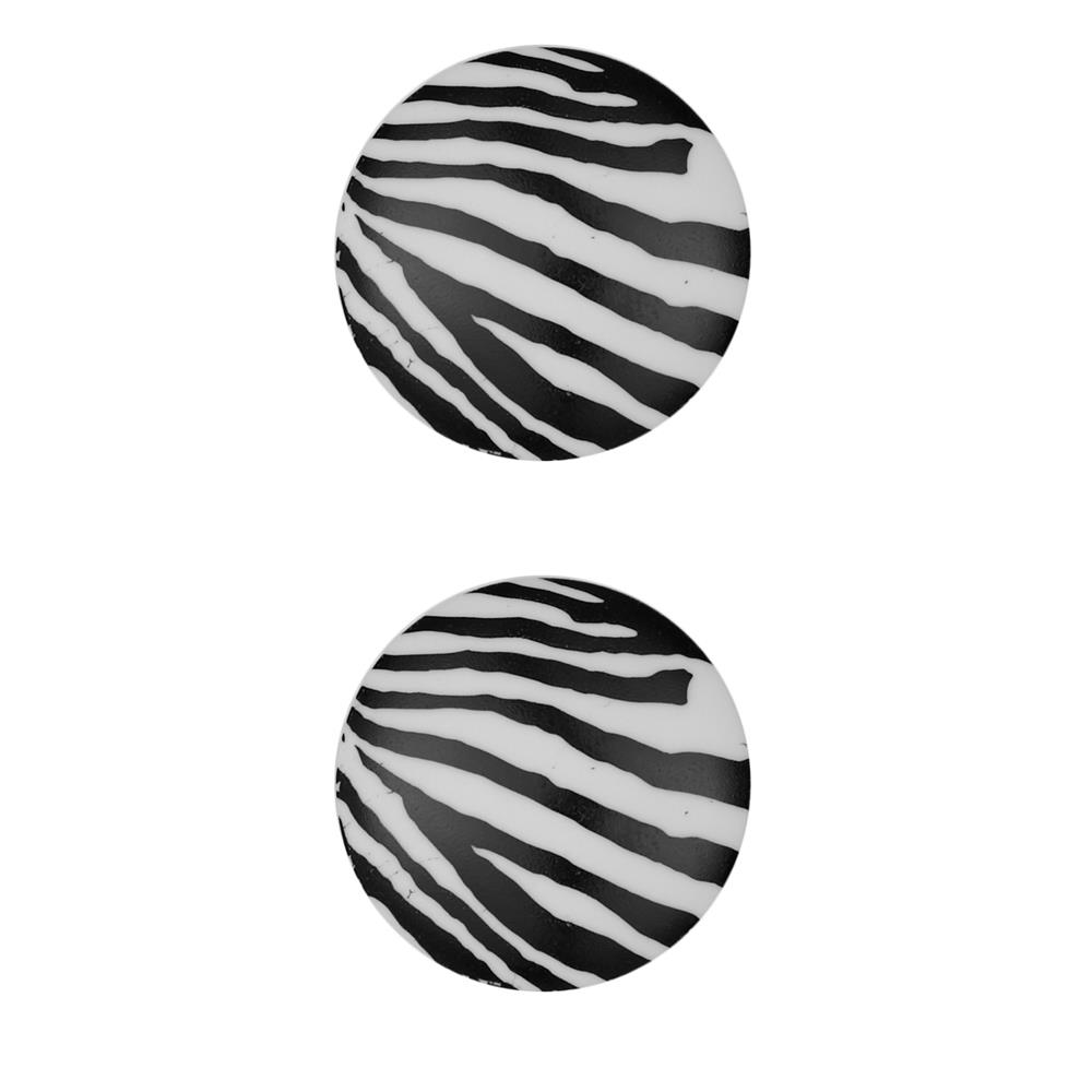 "Dill Novelty Button 1  1/8""  Zebra White"