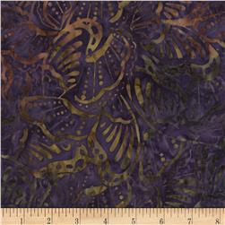 Timeless Treasures Tonga Batiks Kiwi Butterflies Plum
