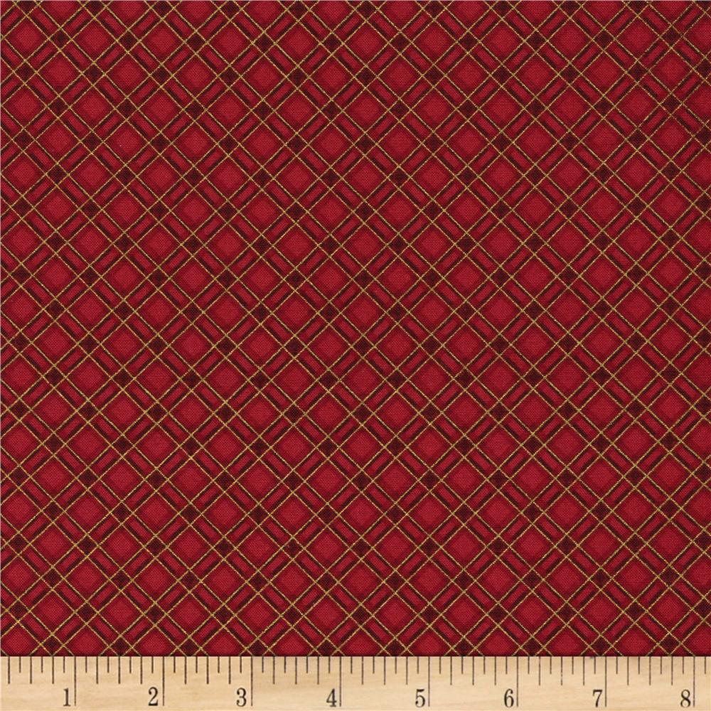 Timeless Treasures Gather Together Metallic Harvest Bias Plaid Red