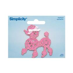 Simplicity Iron On Applique Jeweled Pink Poodle W/Rhinestones